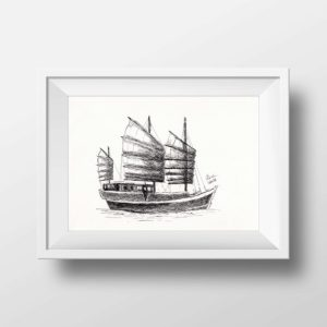 Junk Chinese Sailing Ship for Print