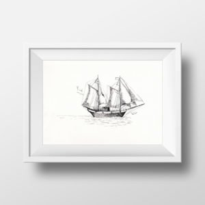 Summer Ship Digital Print - Marine Printable Art - Home Decor
