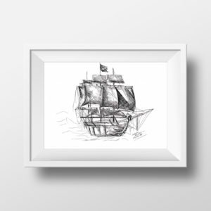 Pirate Ship - marine digital art - Printable art, Downloadable art