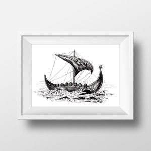 Viking Ship Print - Printable Viking Longboat - Marine Art Prints